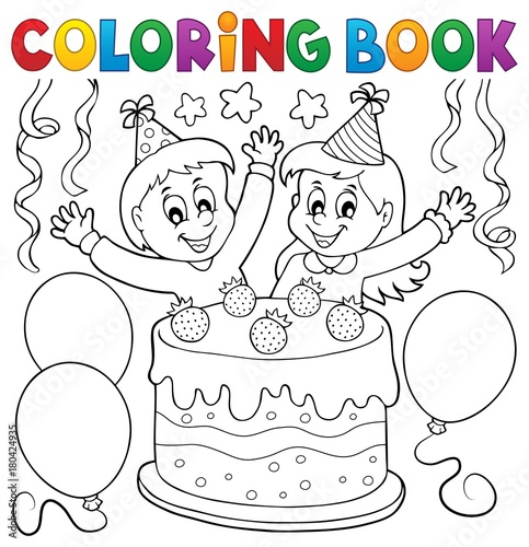 Fotobehang Voor kinderen Coloring book cake and kids celebrating