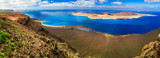 Scenery of volcanic Lanzarote - panoramic view from Mirador del Rio. Canary islands - 180425543