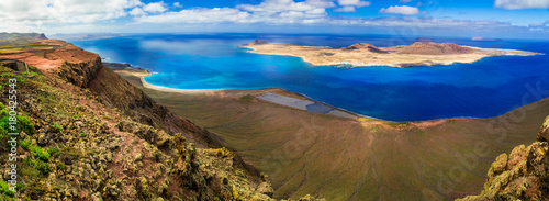 Scenery of volcanic Lanzarote - panoramic view from Mirador del Rio. Canary islands