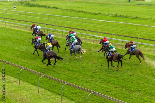 Sticker Horses Race Jockeys Overhead Running Action