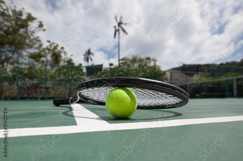 Fotobehang Tennis Tennis Ball with Racket