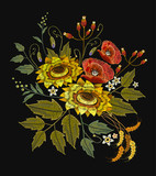 Embroidery sunflowers, roses, flowers, wheat. Template for clothes, textiles, spring flowers vector, t-shirt design. Beautiful bouquet embroidery - 180430107