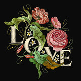 Embroidery wild rose. Slogan Love. Classical embroidery blossoming rose buds on black background, template fashionable clothes, t-shirt design, beautiful flowers vector - 180430125