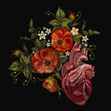 Embroidery wild roses, dogrose flowers and heart. Classic style embroidery, beautiful dogrose and anatomical heart pattern vector. Fashionable template tapestry flowers renaissance - 180430129