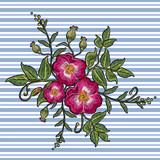 Embroidery wild roses vector. Dogrose flowers. Classic style embroidery, beautiful dogrose pattern vector - 180430134