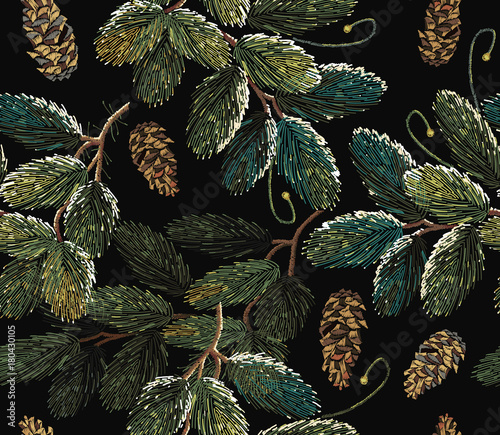 Materiał do szycia Embroidery fir-tree branch with cones. Merry Christmas classical embroidery snow-covered branch of a fir-tree. Christmas art pattern. Clothes, textile design template