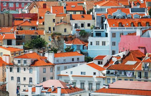 Foto op Canvas Baksteen View of old city of Lisbon.