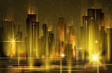 Illuminated Night city skyline, vector illustration - 180437353