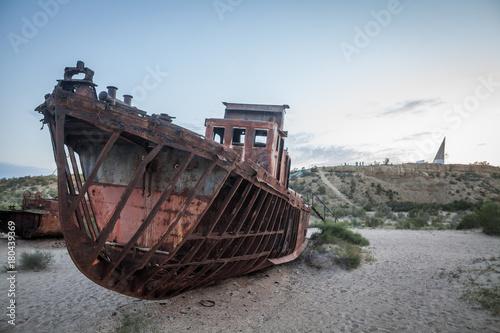 Aluminium Schipbreuk Rusty ship in Moynaq, Uzbekistan