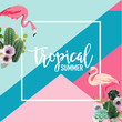 Tropical Cactus Flowers and Flamingo Birds Summer Banner, Graphic Background, Exotic Floral Invitation, Flyer or Card. Modern Front Page in Vector - 180445324