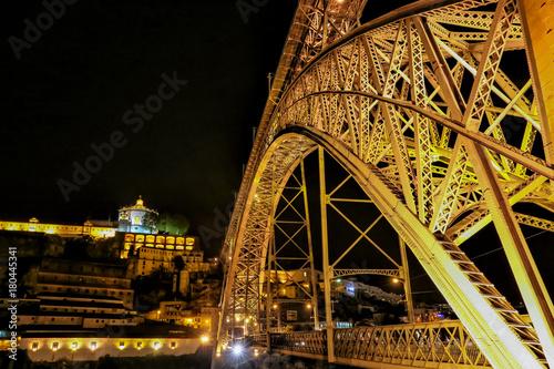 Sticker Night view of Porto, Portugal