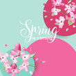 Floral Spring Graphic Design with Cherry Blossom Flowers for T-shirt, Fashion Prints in vector - 180445724