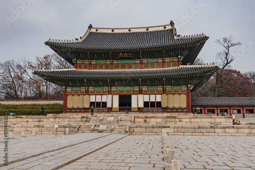 Tuinposter Seoel wooden pagodas in the park of seoul city in korea in winter