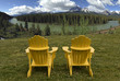 Two chairs overlooking the Candian Rocky Mountains