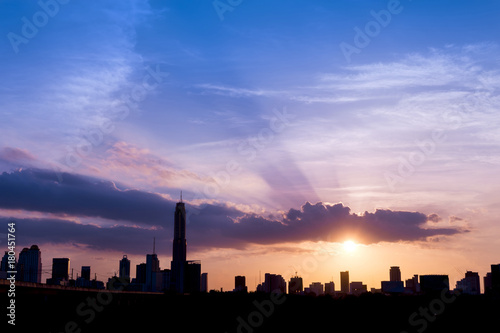 Poster Bangkok silhouette of cityscapes bangkok city on sunset sky background, thailand
