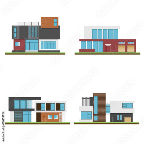 Fototapeta Set of houses and modern houses, Modern building and architecture, Collection of home vector illustration