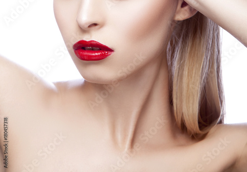 Part of woman face with lips Plakat