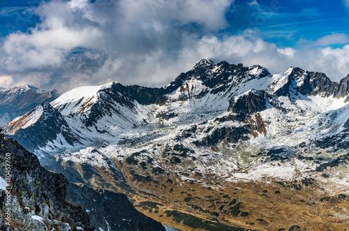 Fototapeta Tatra mountains, panorama of valley with lake, fall sunny day