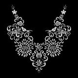 abstract white flower and bird embroidery artwork design for neckline clothing, isolated vector on black background - 180458992