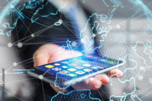 Fototapeta Technology network world map displayed on a futuristic interface
