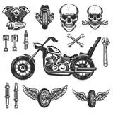Fototapety Set of vintage motorcycle design elements on white background. wheel, racer helmet, spark plug. Design elements for logo, label, emblem, sign, badge. Vector illustration