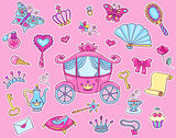 Cute Princess Sticker Set  Carriage Wall Sticker