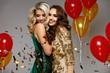 Party Fun. Beautiful Girls Celebrating New Year