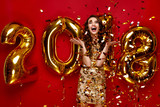 New Year. Woman With Balloons Celebrating New Year 2018 - 180468948
