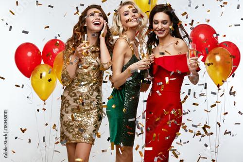Beautiful Women Celebrating New Year, Having Fun At Party