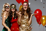 Party. Beautiful Women In Masks Celebrating New Year - 180469383
