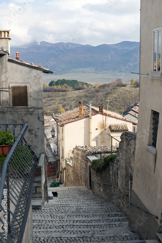 A characteristic alley in the town of Villetta Barrea that overlooks the namesake lake, at the foot of Mattone Mount, in the National Park of Abruzzo.
