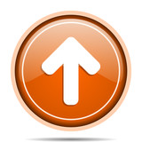 Up arrow orange round pointer web and mobile phone vector icon in eps 10 on white background with shadow - 180469514