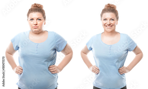 Leinwanddruck Bild Young woman before and after weight loss on white background. Health care and diet concept