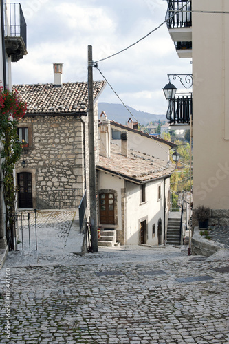 A characteristic street in the village of Pescocostanzo. National Park of Majella, Italy.