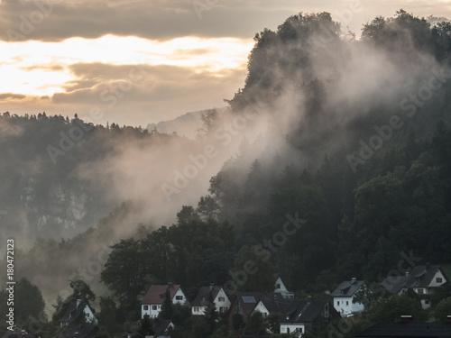 Staande foto Grijze traf. Nebel in den Bergen
