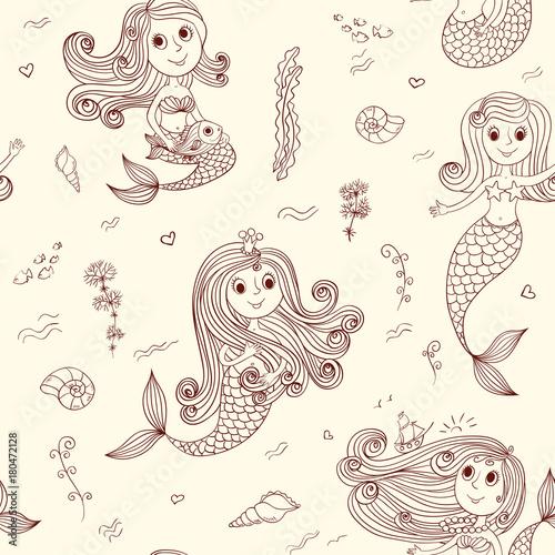 Cotton fabric Doodle mermaids seamless pattern brown