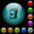 Ink cartridge icons in color illuminated glass buttons