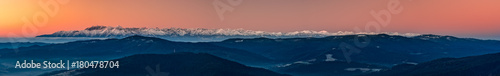 Deurstickers Oranje eclat Tatra mountains panorama over misty Gorce mountains in the morning, Poland landscape