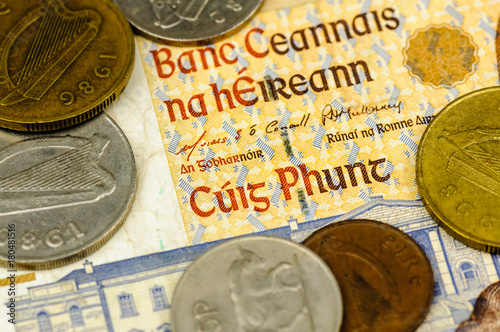 Irish punt bank note and coins