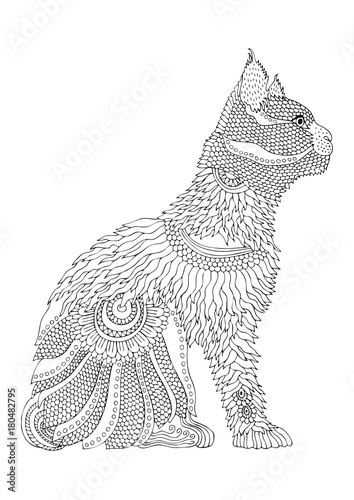 Hand drawn cat. Sketch for anti-stress adult coloring book in zen-tangle style. Vector illustration for coloring page.