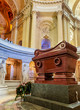 The tomb of Napoleon Bonaparte.The St. Louis Cathedral Invalides. Paris, France