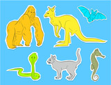 Collection of Wild Animals Stickers Vector - 180485139