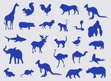 Blue Silhouette Various Animals Set Vector