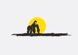 Wild Chimpanzee Silhouette in Sunset Vector - 180485553