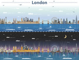 vector illustration of London city skyline at day and night