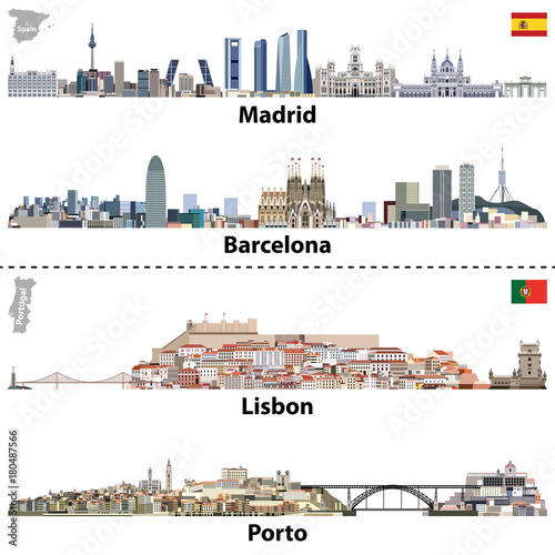 vector illustrations of Madrid, Barcelona, Lisbon and Porto city skylines. Maps and flags of Spain and Portugal