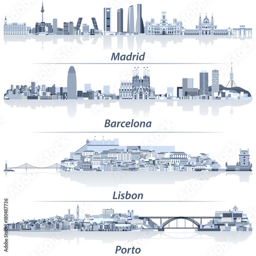 abstract vector illustration of Madrid, Barcelona, Lisbon and Porto city skylines in light blue color palette with water reflections