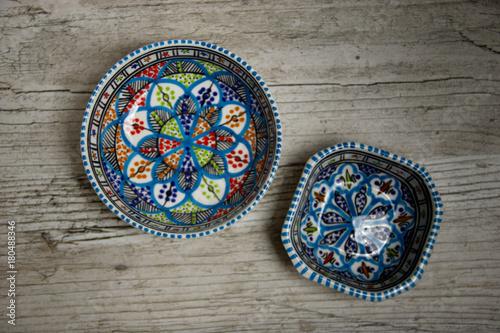 Fotobehang Marokko Céramique orientale - Vaisselle orientale - Maroc - Tunisie - Assiette orientale décorée à la main