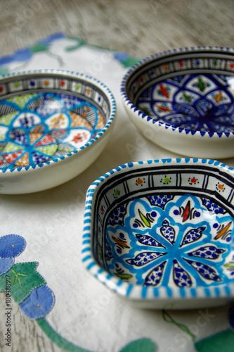 Foto op Canvas Marokko Céramique orientale - Vaisselle orientale - Maroc - Tunisie - Assiette orientale décorée à la main