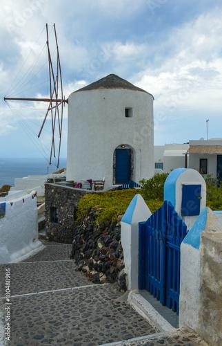 Plexiglas Smalle straatjes Santorini Oia